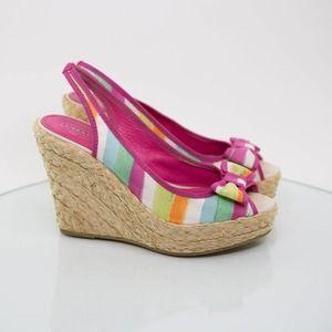 Coach 'Grace' Espadrille Wedge Platform Heels 8.5